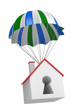 digitally generated image: Home and Parachute. Digitally Generated Image. Stock Photo