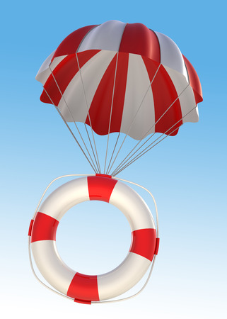 digitally generated image: Life Saver and Parachute.  Digitally Generated Image.