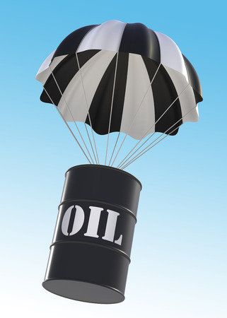 digitally generated image: Oil Drum and Parachute. 3d Digitally Generated Image. Stock Photo