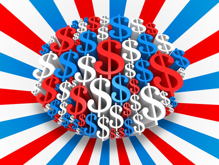 USA Dollar sign in the colors of the flag. Digitally Generated 3D Image. photo