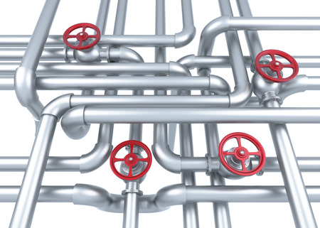 Factory Pipes Background. Digitally Generated Image. 3D Rendering.