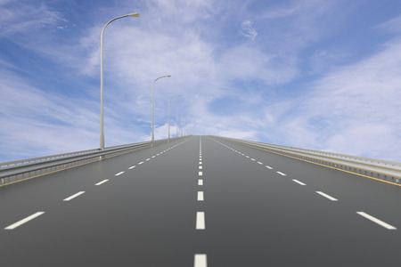 vanishing point: Empty Highway with Cloud Sky. Digitally Generated Image