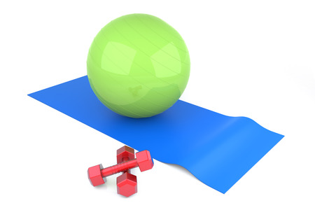3D Fitness Ball and Dumbbell. Digitally Generated Image. photo