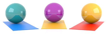 digitally generated image: Multicolored Three Fitness Ball. Digitally Generated Image. 3D Rendering.