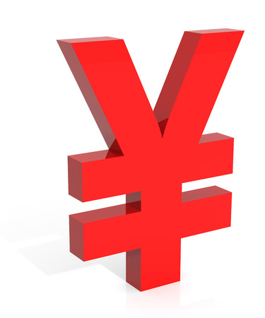 digitally generated image: Yen Currency Symbol. Digitally Generated 3D Image. Isolated On White.