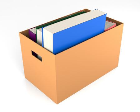 cardbox: Books in a cardbox. 3D Rendering Stock Photo