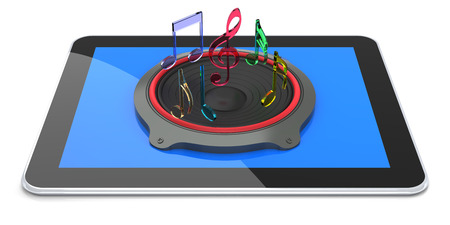 Tablet PC with Digital Sound. 3D rendering photo