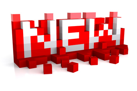 New - 3d White text over red boxes. 3D rendering 写真素材