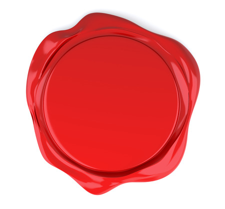 credentials: Red wax seal isolated on white. 3D Rendering