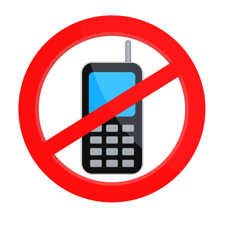 phone button: No Mobile Phones Allowed. Isolated Digitally Generated Image. Stock Photo