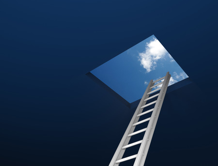 3d ladder leading to out. 3D Rendering