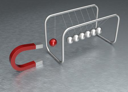 newton cradle: Newton Cradle and Horseshoe Magnet Concept. 3D Rendering