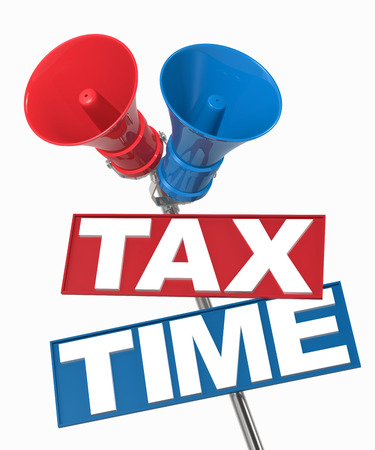 Megaphone sign with tax time. 3D Rendering photo