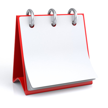 Empty Calendar. 3D illustration of a calendar on a white floorbackground with icon.