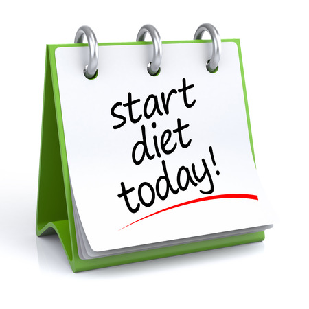 diet plan: Diet Planning. 3D illustration of a calendar on a white floorbackground with icon. Stock Photo