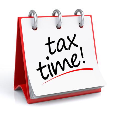 Tijd van de belasting. 3D rendering geïsoleerde kalender met Tax Time tekst.