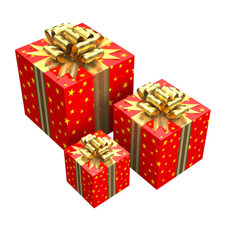 boxs: Gift boxs with a gold ribbon,  high quality rendering white background...