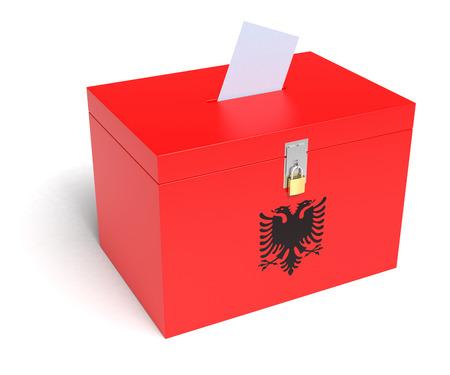 Albania ballot box with Albania Flag. Isolated on white background. photo