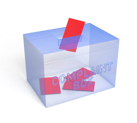 consumer rights: Transparent Blue Complaint Box, for your. 3D Rendering Stock Photo