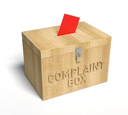 Een echte houten Klacht Box. 3D Rendering
