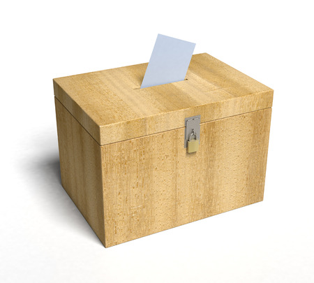 Wood Ballot Box with Paper Inserted... 3D rendered. Foto de archivo