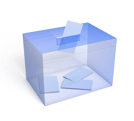 plexiglas: Plexiglas Ballot Box with Paper Inserted... 3D rendered.