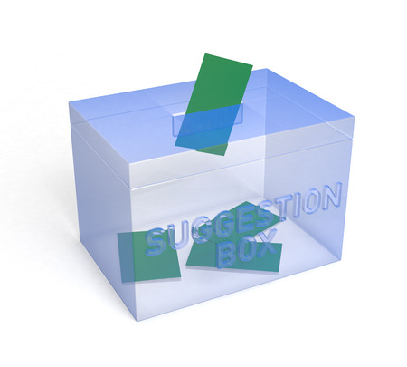 suggestion: Transparent Blue Suggestion Box, for your. 3D Rendering Stock Photo