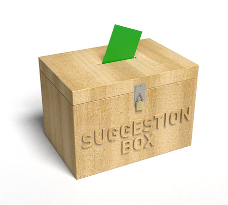 A real wooden Suggestion Box. 3D Rendering Stock Photo