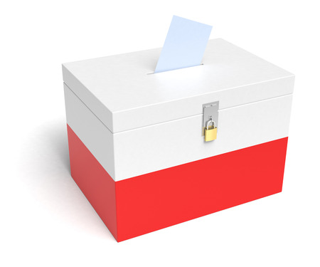 elector: Poland ballot box with Polish Flag. Isolated on white background.