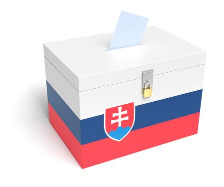 slovak: Slovakia ballot box with Slovak Flag. Isolated on white background.