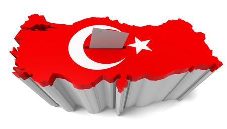 Turkey Map Ballot Box with Turkish Flag. Isolated on white background.