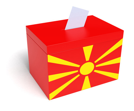 macedonian flag: Macedonia ballot box with Macedonian Flag. Isolated on white background.