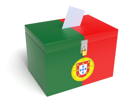 law of portugal: Portugal ballot box with Portuguese Flag. Isolated on white background.