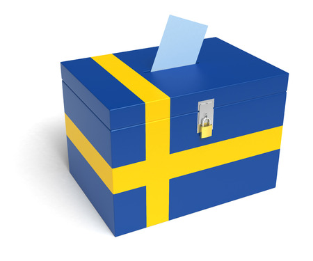 elector: Sweden ballot box with Swedish Flag. Isolated on white background.