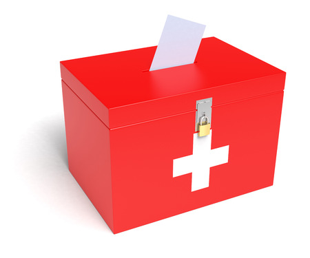elector: Switzerland ballot box with Swiss Flag. Isolated on white background. Stock Photo