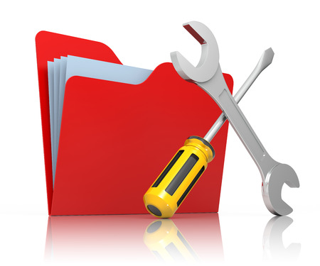 Red folder with wrench and screwdriver. Isolated on white Computer service.