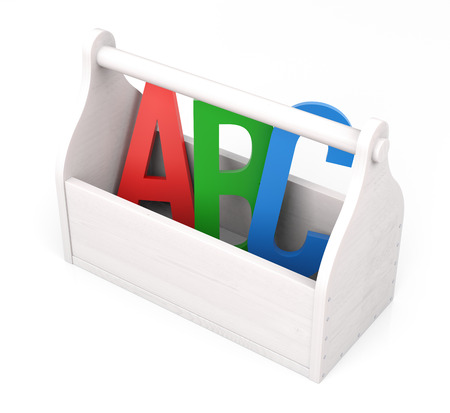 Alphabet letters in theToolbox. Isolated white background. photo