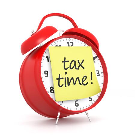 税の時間ポスト ・ イットと赤い目覚まし時計。3 D レンダリング