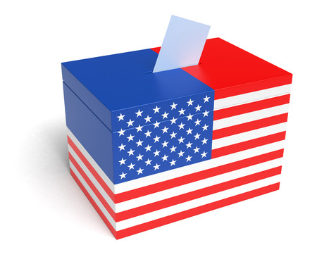 ballot box: USA Flag Ballot Box, 3D Rendering Stock Photo