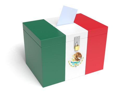 mexican flag: Mexican Flag Ballot Box, 3D Rendering