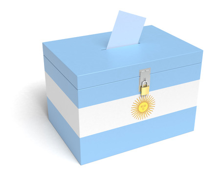 Argentina Flag Ballot Box. Isolated white background. 3D Rendering. photo