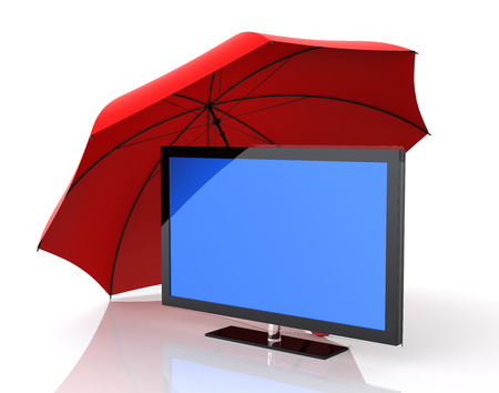 plazma: Screen and Insurance. Isolated white background. 3D Rendering.