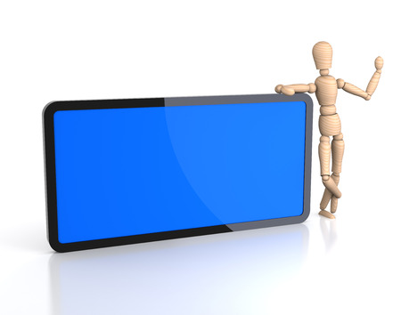 male mannequin: A male mannequin with a blank digital tablet. 3D rendering.