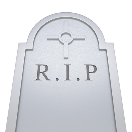 Gravestone on isolated white background. 3D Rendering Stock Photo