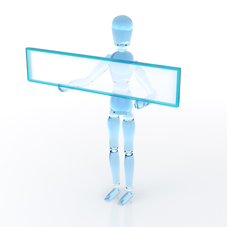 male mannequin: A male mannequin with a blank sign panel. 3D rendering.