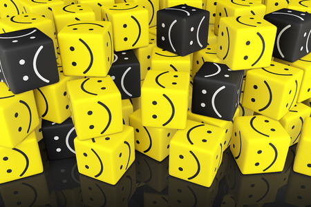 smiley: Stack Cubes with Smiley Face. 3D rendering. Stock Photo