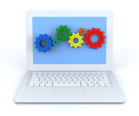 titanium: Gear Wheels in White Laptop. 3D Rendering Image