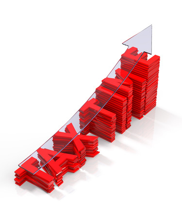 barchart: Tax Time Barchart with Transparent Arrow. 3D Rendering