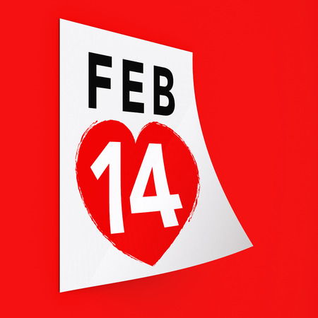 14 February Calendar on Red Background. Isolated 3D image Stock Photo