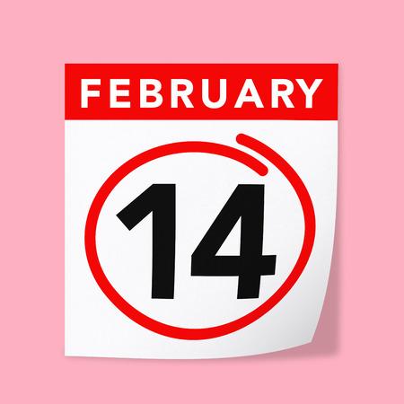 14 february: 14 February Calendar on Pink Background. Isolated 3D image Stock Photo